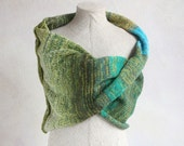 Spring Green - knit throw blanket, super chunky cotton mohair silk knit infinity scarf, winter wrap