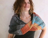 Park Guell blanket throw, warm knit hands free infinity scarf for denim days