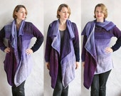 Grape Annie | Statement Sweater | mohair cotton silk | custom blended ombre | womans cardigan | purple lavender | art to wear cardigan