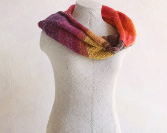 Melon Infinity Wrap | Shawl Cowl | Ready To Ship | hot pink knit scarf | mandarine orange | winter gift idea |  Ready To Ship | childrens