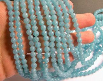Blue sponge quartz - 6 mm round beads -1 full strand - 65 beads - A quality - RFG541