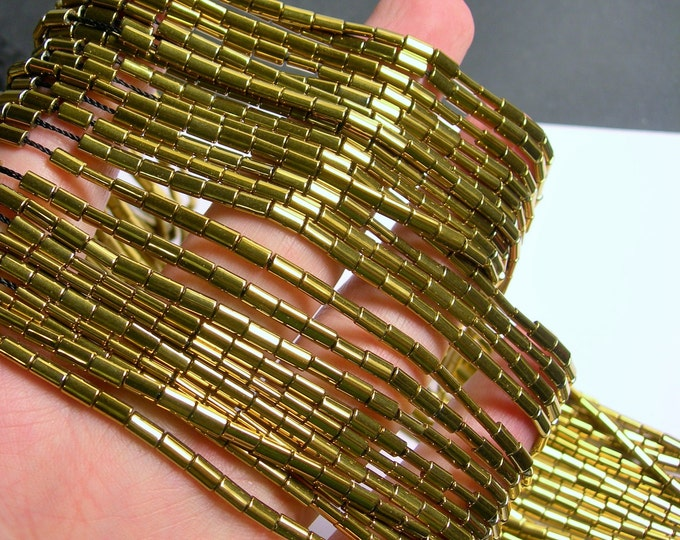 Hematite Gold - 5mm flat tube beads - 1 full strand - 80 beads - AA quality - PHG194
