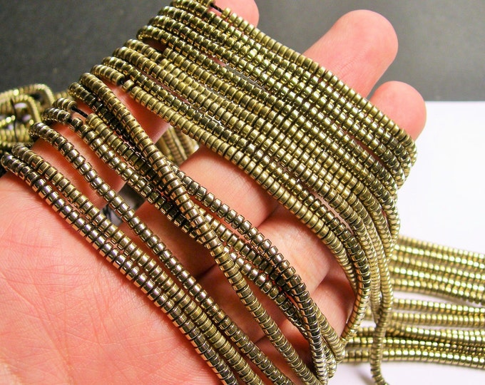 Hematite Gold - 3mm heishi - full strand - 215 beads - AA quality - 3mmx2mm - PHG227