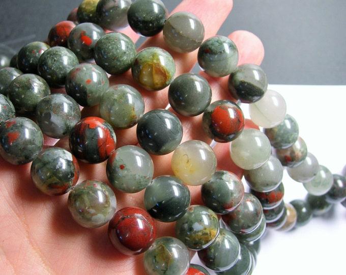 African bloodstone - 14mm round beads - full strand - 28 beads - Seftonite - RFG809
