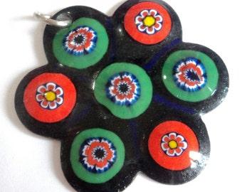 1970s Enamel Flower Pendant... Bright Orange & Green... Flower Power
