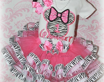 Girls Birthday 3 Piece Minnie Mouse Pink Zebra Ribbon Tutu Outfit INCLUDES TuTu, Hairpiece, Top Pick Name, Size,  Number, Colors
