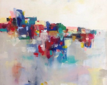 Colorful Abstract Cityscape Painting Original- Hill City 22 x 28
