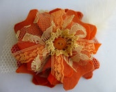 Fabric Flower Brooch Pin Burnt Orange Wool Lace Tulle Pumpkin Glam Garb Handmade USA Romantic Boho Victorian Steampunk Vintage Upcycled OOAK