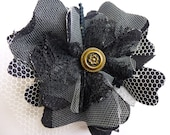 Fabric Flower Brooch Pin Midnight Black Denim Cotton Lace Button Tulle Glam Garb Handmade USA Romantic Victorian Steam-punk OOAK Bohemian