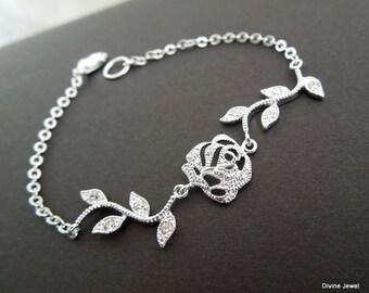 Bridal Bracelet Crystal Bracelet Vintage Style Wedding Jewelry rhinestone Leaf Bridal Bracelet Statement Bridal Bracelet bridal Cuff MEADOW