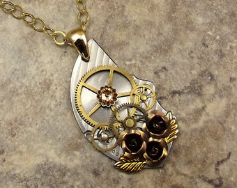 Steampunk Rose Necklace, Stainless Pocket Watch Plate, Bronze