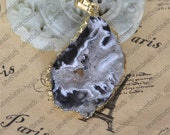 Free shipping Slice Druzy geode agate pendant,Quartz Geode agate bead pendant,Drusy Pendant Connector Link