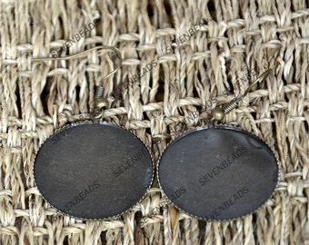 2 pair 25mm,Antique Bronze Lever Back Earring Hook with Lace round pad.earring base,earring finding