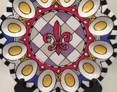 Deviled Egg Serving Tray Red Fleur de Lis Purple Accents