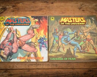 2 Masters of the Universe Golden Books, He-Man Cartoon, Vintage 80s