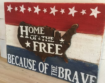 Home of the Free Because of the Brave - God Bless America Sign -Red White and Blue Decor -Rustic USA Map - Fourth of July - July 4th Decor