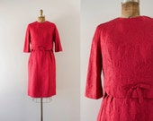 1960s Cherry Hill brocade rose party dress / 60s embroidered shell