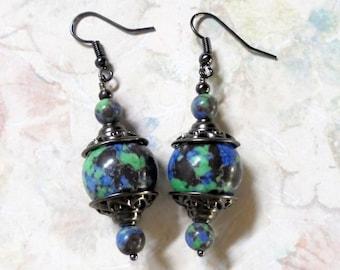 Blue, Green and Black Mosaic Earrings (2656)