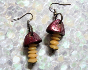 Maroon, Pale Yellow and Brass Ethnic Earthy Earrings (2982)