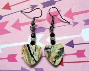Gray and Black Heart Earrings (2441)