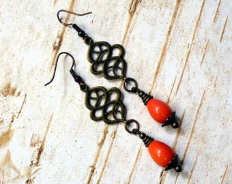Orange Teardrop Earrings (2496)