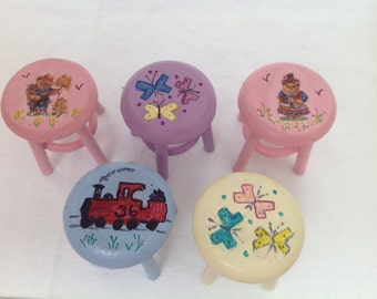 Dolls House Miniatures - 1/12th Hand Painted Stool - (5 designs)