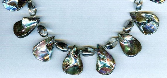 Pearlized Gray Shell Briolette Teardrop One of a Kind Necklace!
