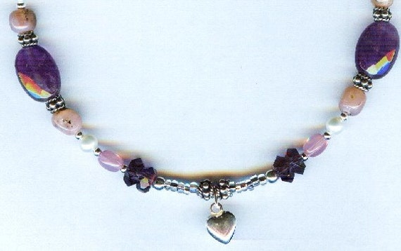 Amethyst & Peruvian Pink Opal with Pearls Gemstone Bracelet - Anklet