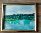 Original Landscape Acrylic painting   Abstract Fine Art Modern Contemporary Art   Blue Green Chartreuse Turquoise