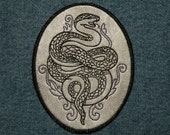 Cowhide Leather Snake Iron on Patch