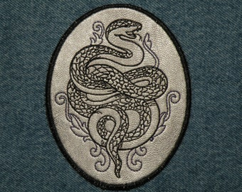 """Cowhide Leather Snake Iron on Patch 4.5"""" x 3.55"""""""