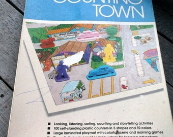 Early Learning vintage Counting Town Storytelling and counting game pieces Early Learning Home School supplies