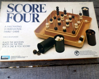 SCORE FOUR 1975 vintage game Lakeside Game Be the first to position 4 beads of the same color in a straight line on any level or any angle
