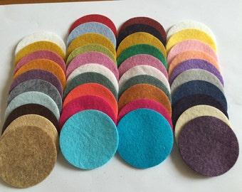 Wool Felt Circles 40 - 1 3/4 inch Random Colored. 2593