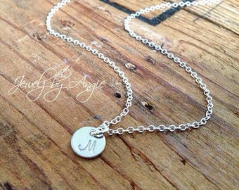 Hand Stamped Small Sterling Silver Disc Necklace // Personalized Jewelry // Bridesmaid Gift Ideas // Gifts For Her