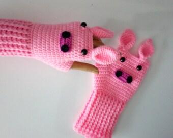 Pig in the fingerless glove -Crochet Pig gloves-for Baby or Toddler-animal gloves