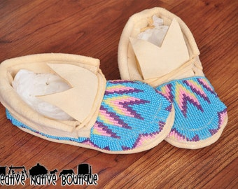 Native American Beaded Moccasins size 7/8