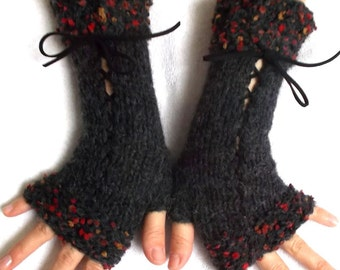 Fingerless Gloves Corset Wrist Warmers for Women Charcoal Grey with Suede Ribbons Victorian