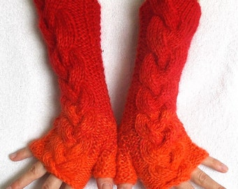 Fingerless Gloves in Red Orange, Extra Warm Soft Cabled Arm Warmers with Mohair Angora