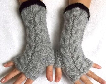 Fingerless Gloves Cabled Warm Wrist Warmers Light Grey Black Fingerless Mittens Women Winter Accessory