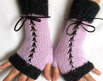 Knit Fingerless Corset Gloves Women Wrist  Warmers in Dark Grey and  Light Violet Lilac
