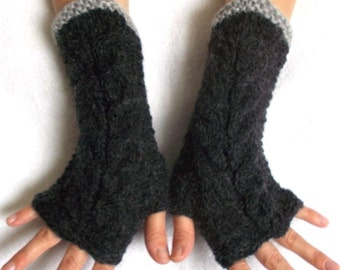 Fingerless Gloves Cabled Warm Wrist Warmers Dark Grey  Fingerless Mittens Women Winter Accessory