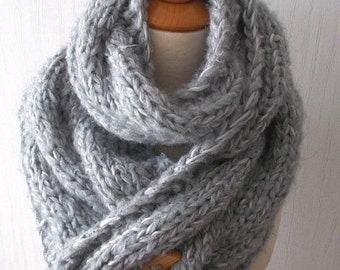 Scarf  Chunky Cowl Grey Extra Thick Cabled Hand Knit