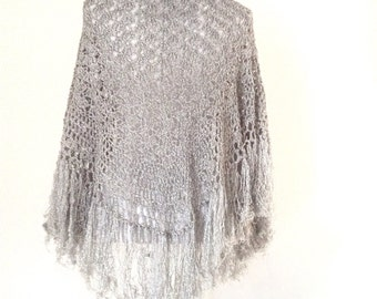 French VTG 1970 silver lurex / wool shawl
