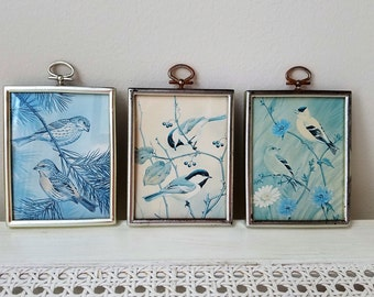 Vintage Bird Art Prints Small Blue Off White Set of 3 In Silver Frames, Retro Shabby Cottage Wall Decor