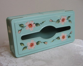 Vintage Metal Kleenex Tissue Box Holder Pale Aqua With Pink Flowers, Shabby Cottage Wall or Tabletop Beveled Dispenser Storage Box