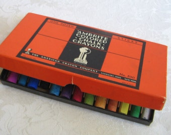 Ambrite Colored Chalk Crayons in Art Deco Orange Black Box, One Dozen Sticks No. 530 By The American Crayon Company, Vintage Art Supplies