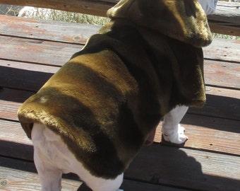 Order FAUX FUR English Bulldog Coat, fully lined, reversible, softest brown fur, delux fur dog coat