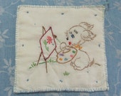Vintage Hand Embroidered Painted Puppy Hot Pad Pot Holder