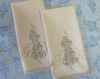 Two Vintage Embroidered and Crocheted Floral Kitchen Tea Luncheon Towels